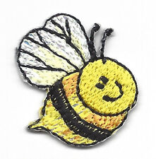 Bee w/Sparkly Wings Small Bees Insects Iron On Embroidered Applique Patch