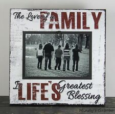 FAMILY BLESSINGS HANDMADE PRIMITIVE RUSTIC WOOD PICTURE FRAME PHOTO SIGN 1016