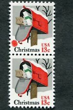 {Bj stamps} Error  1730  Christmas 1977 mail box, RED  snow ball error nh