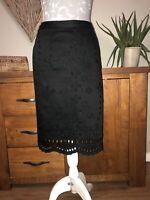Next Ladies Smart Black Skirt Size 10 Floral Pattern