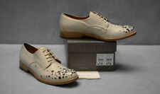 C0 NEW SARTORE Cream Leather Faux Turquoise Studded Oxfords Shoes Size 38.5 $725