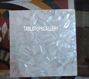 15'' White Marble Sea Shell Stone Coffee Table Top Inlay Mosaic Art Decor H3317A