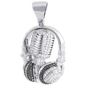Diamond Microphone Pendant Mens 10K White Gold Over Round Headphone Charm 1 Tcw.