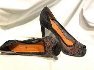 Via Spiga Black Sparkling Sheer Textile Peep Toe Dress Pump 8.5M