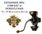 Enterprise MFG. Co. No. 00 Coffee Grinder Mill Restoration Decal