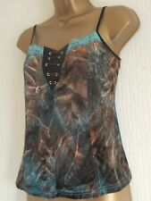 VELVETY STRETCH LACE UP FRONT BROWN GREEN LACE TRIM TOP BOHO HIPPY NEW CHANNEL