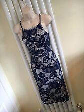 LIPSY Stunning Blue White Lace Strappy Midi Stretch Dress Size 10  NEW