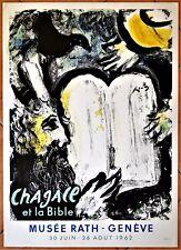 Marc CHAGALL  (1962)   MOÏSE ET LES TABLES DE LA LOI * Lithographie Originale