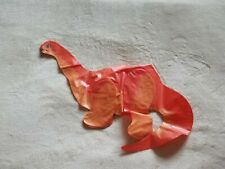 "Vintage Retro Inflatable Dinosaur Brontosaurus Red Orange 20"" Snout to Tail Bend"