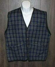 "Vintage ""Impact"" Plaid Wool Blend Vest SIZE LARGE Dry Clean Only"