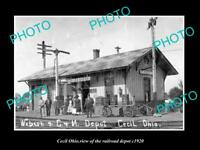 OLD LARGE HISTORIC PHOTO OF CECIL OHIO, THE RAILROAD DEPOT STATION c1920