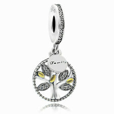 S925 sterling silver Family Heritage tree of live CZ dangle Charm for bracelet
