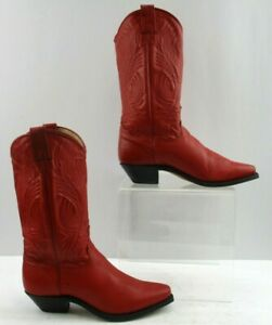 Ladies Red Leather Snip Toe Western Cowgirl Boots Size: 7