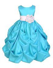 POOL/TURQUOISE FLOWER GIRL DRESS PAGEANT TAFFETA WEDDING BRIDESMAID TODDLER KIDS