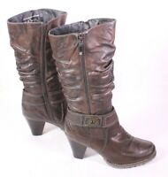3S Queens Damen Stiefel Slouch Boots Leder braun Gr. 42 gefüttert ungetragen