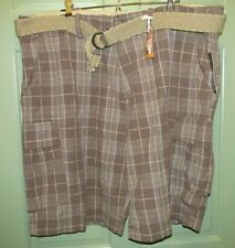 Arizona Men's Big & Tall Belted 100% Cotton Brown Plaid Cargo Shorts - Size 40