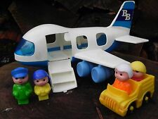 Blue Box Toys VINTAGE Airplane 4 People Yellow Car Hong Kong Plastic