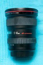 Canon Lens EF 17-40mm f/4.0 L USM Very Good Cond. Box. Hood. Bag. UV filter