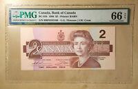 Canada BC-55b 1986 $2 Thiessen | Crow PMG 66 EPQ - S/N BBP8395596 - BABN