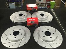 FORD MONDEO TDCI ST155 DRILLED GROOVED BRAKE DISC  MINTEX BRAKE PAD FRONT REAR