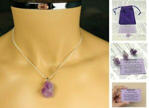 Amethyst Crystal Pendant Necklace Healing Gem stone quartz healing UK
