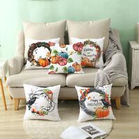 4PC Fall Halloween Pumpkin Pillow Case Waist Throw Cushion Cover Sofa Decor