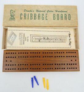 1C Drueke's Natural Color Hardwood Cribbage Board Model No 11 W/ Box Instruction