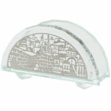 "Elegant Crystal Napkin Holder With a Plate "" Jerusalem "" 7.5cm Gift Holyday"