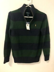 NWT POLO RALPH LAUREN BOYS Sz M 8-10 HALF ZIP SWEATER GREEN/BLUE STRIPES