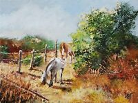 YARY DLUHOS ORIGINAL OIL PAINTING Horses Equine Equestrian Ranch Rural Landscape