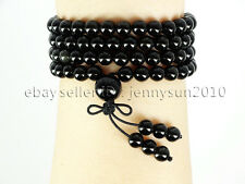 Natural 6mm Gemstone Buddhist 108 Beads Prayer Mala Stretchy Bracelet Necklace