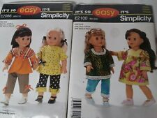 Simplicity doll patterns 2100 & 2086. One is cut and the other is whole.
