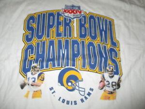 KURT WARNER & MARSHALL FAULK Super Bowl XXXIV ST LOUIS RAMS Champs 2X Shirt Holo