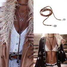 Gothic Retro Charm Velvet Rope Choker Necklace Boho Long Chain Pendant Jewelry