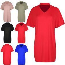 Women Ladies Oversize Choker Neck Batwing Short Sleeve Tunic Baggy T Shirt Dress