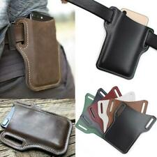Men ​Mobile Phone Belt Pack Bag Loop Waist Holster Pouch Case​ Cow Leather UK
