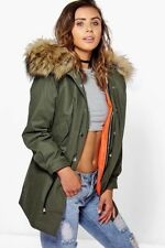 Petite 2 In 1 Zip Out Parka With Faux Fur Hood  in khaki