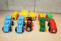 Vintage Wooden Magnetic Train Set Thomas Compatible Engine Cars Lot of 10