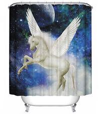 Pegasus Shower Curtain White Horse Magic Enchanted Mystic Sky Moon Star Fantasy