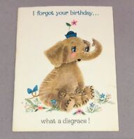Vintage Greeting Card Belated Birthday Elephant in flowers Hallmark Used