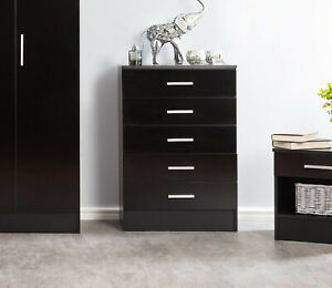 Black Gloss Cabinet Chest of 5 Drawers Galaxy Bedroom Unit
