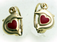 Kinder Ohrringe Bouton Delfin mit Herz massiv 333 Gold Gelbgold Qualität