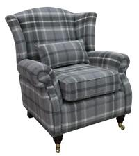 Ashley Wing Chair Fireside High Back Armchair Balmoral Dove Grey Check PS