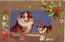 embossed A Happy Christmas - Collie and puppy