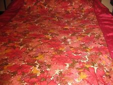 Vintage Quilted Ruffled BEDSPREAD TW SZ  DEEP PINK FLORAL 1950'S SATIN  CUTTER