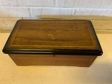 Antique Rosewood Swiss Cylinder 6 Tune Music Box w/ Inlaid Floral Decoration