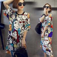 Women Cartoon Pajama Printed O-neck Casual Home Loose Sleep Dress for Summer