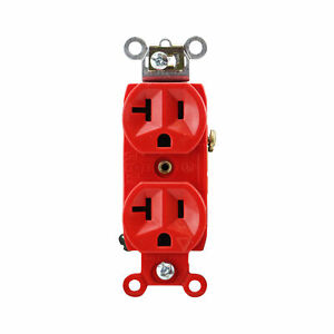 PASS & SEYMOUR IG6300-RED ISOLATED GROUND DUPLEX RECEPTACLE, 20A, RED, (10 PACK)
