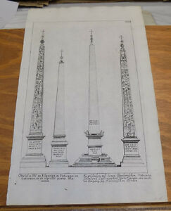 c1670 Antique JOAN BLAEU Print/ FOUR VERTICAL OBELISKS, THE VATICAN /ROME, ITALY