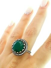 Sultan! Turkish Handmade Emerald Jewelry 925 Sterling Silver Ring Size 9 R1439